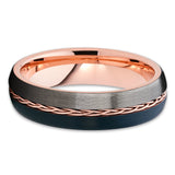 6mm - Rose Gold Tungsten - Braid Ring - Gunmetal - Tungsten Wedding Band - Clean Casting Jewelry