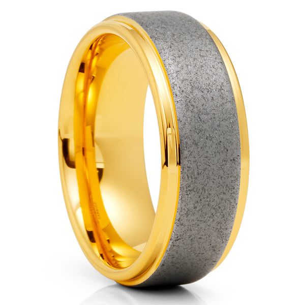 Yellow Gold Tungsten Ring - Sandblast Design - Gray Tungsten Ring  - 8mm - Clean Casting Jewelry
