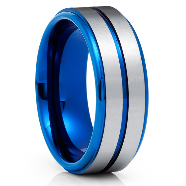 Blue Tungsten Ring - Silver Tungsten Ring - Blue Wedding Band - 8mm - Clean Casting Jewelry