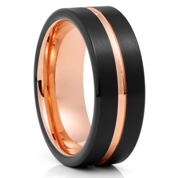 Black Tungsten Ring - Rose Gold Tungsten - 8mm Tungsten Band - Brush - Clean Casting Jewelry