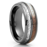 Gunmetal Tungsten Ring - Deer Antler Wedding Band - Meteorite Ring - Clean Casting Jewelry