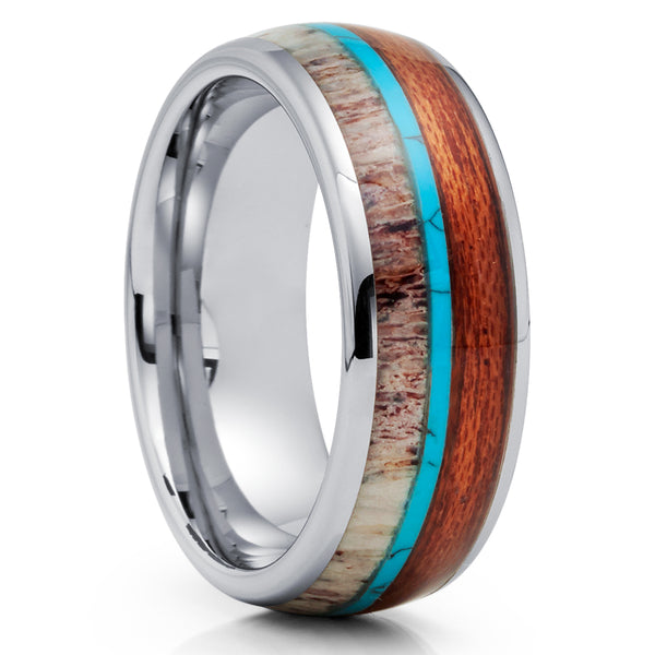 Deer Antler Tungsten Ring - Koa Wood Tungsten Ring - Turquoise Ring - Clean Casting Jewelry