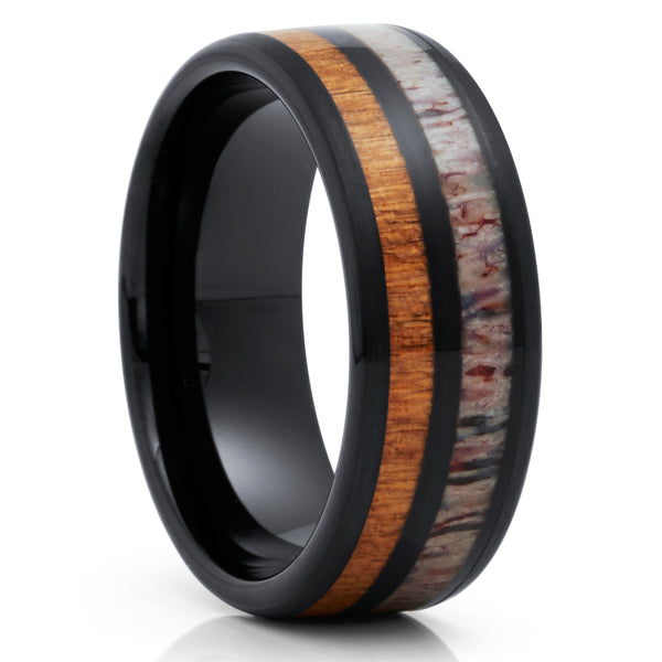 Deer Antler Wedding Band - Black Tungsten Ring - Cherry Wood Ring - 8mm - Clean Casting Jewelry