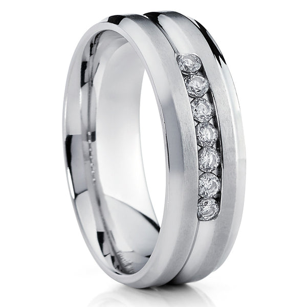 Titanium Wedding Band,CZ Titanium Ring,Titanium Ring,Brushed Titanium,Comfort Fit