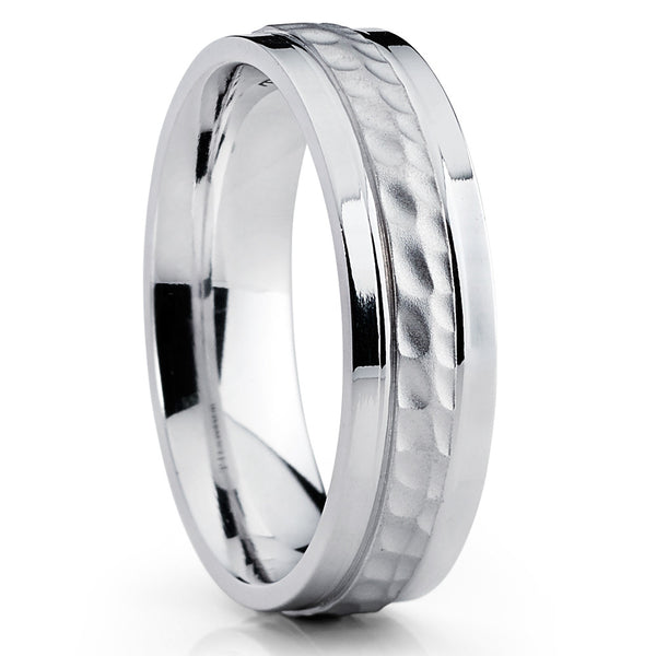 Titanium Ring,Hammered Titanium Ring,Titanium Wedding Band,Brushed Finish