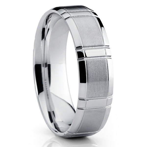 Titanium Wedding Band,Grooved Titanium Wedding Band,Brushed Finish,Grooved