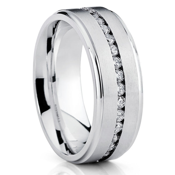 8mm - Titanium Wedding Band - Men's Titanium Ring - CZ Ring - Clean Casting Jewelry