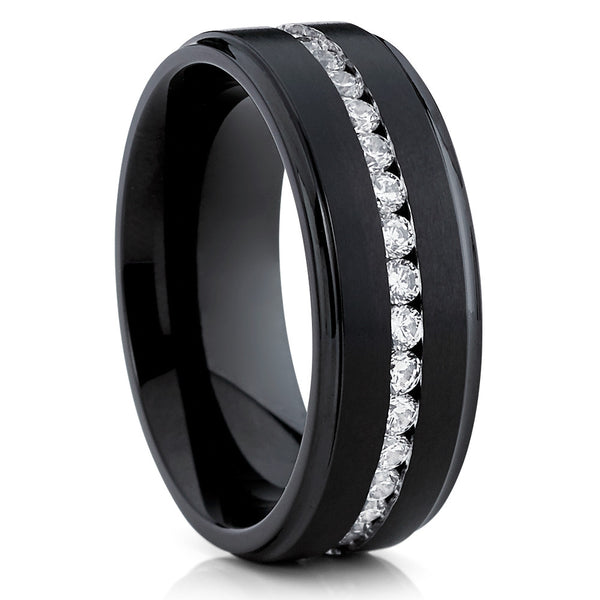 Black Wedding Band - Titanium Wedding Ring - CZ - Men's Wedding Ring