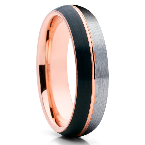 6mm - Rose Gold Tungsten Ring - Black Tungsten Ring - Unisex Ring - Clean Casting Jewelry