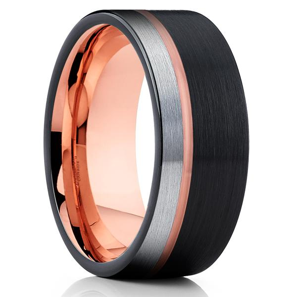 Rose Gold Tungsten Ring - 10mm Ring - Black Tungsten Wedding Band - Brush