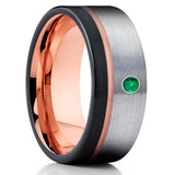 Rose Gold Tungsten Ring - Emerald Tungsten Ring - Black Tungsten Ring - Brush - Clean Casting Jewelry