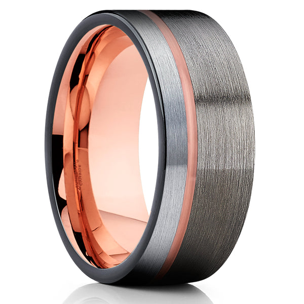 Gunmetal Tungsten Ring - Rose Gold Tungsten - Black Tungsten - Band - Clean Casting Jewelry
