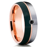 Black Diamond Wedding Band - Rose Gold Tungsten Ring - Black Tungsten
