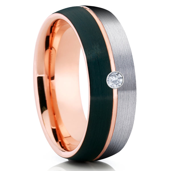 Rose Gold Tungsten Ring - Gray Tungsten Ring - White Diamond Ring - Black - Clean Casting Jewelry