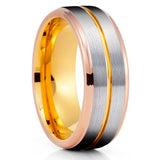 Rose Gold Tungsten Ring - Gray Tungsten - Yellow Gold Tungsten - 8mm - Clean Casting Jewelry