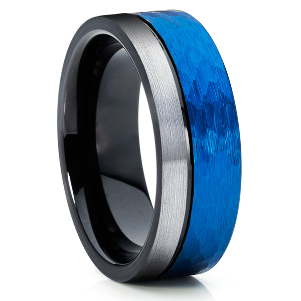 Blue Tungsten Wedding Ring - Blue Tungsten Band - Gray Tungsten Ring - Clean Casting Jewelry