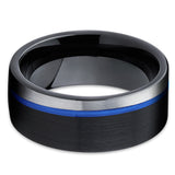 Men's Tungsten Wedding Band - Black Tungsten Ring - Blue Tungsten Ring - Clean Casting Jewelry