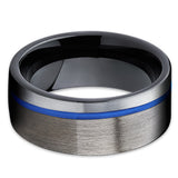 Gunmetal Tungsten Ring - Blue Tungsten Band - Black Tungsten - Men's - Clean Casting Jewelry