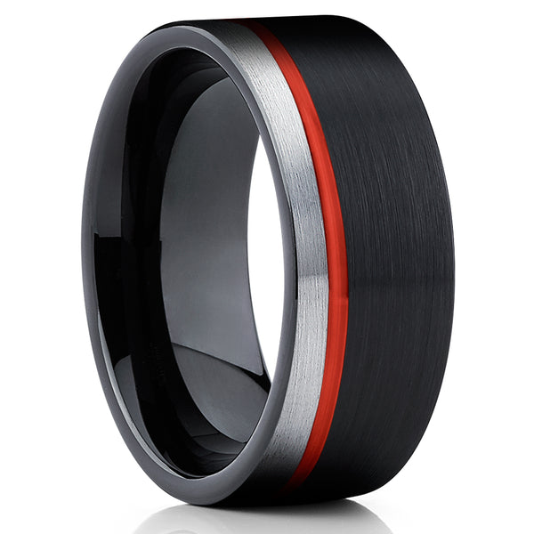 Red Tungsten Ring - Black Tungsten - Red Tungsten Wedding Band - 8mm - Clean Casting Jewelry