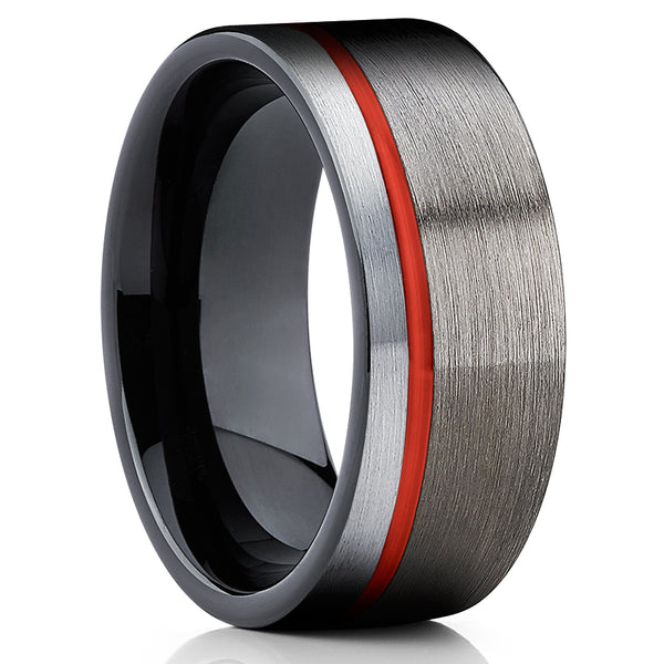 Red Tungsten Wedding Band - Red Tungsten Ring - Gunmetal Ring - Clean Casting Jewelry