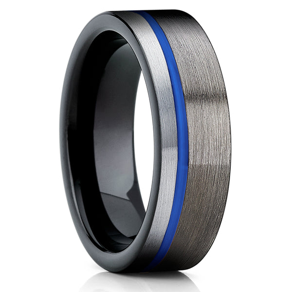 Gunmetal Tungsten Ring - Blue Tungsten Ring - Black Tungsten - 6mm - Clean Casting Jewelry