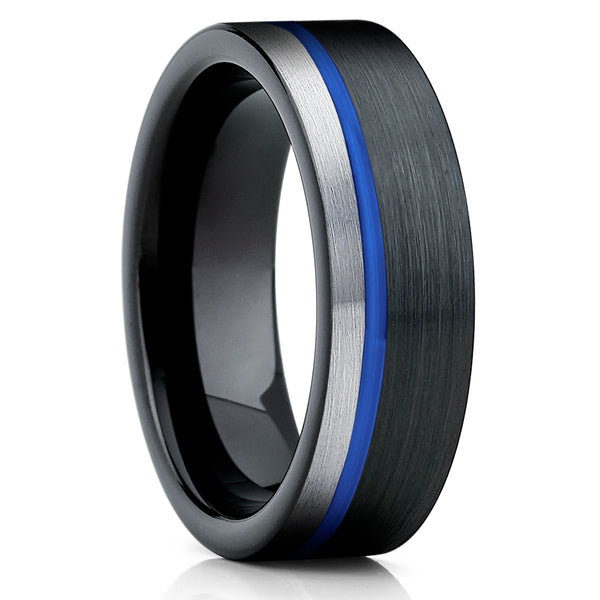 Blue Tungsten Ring - Gary Tungsten Ring - Black Tungsten - Brush - Clean Casting Jewelry