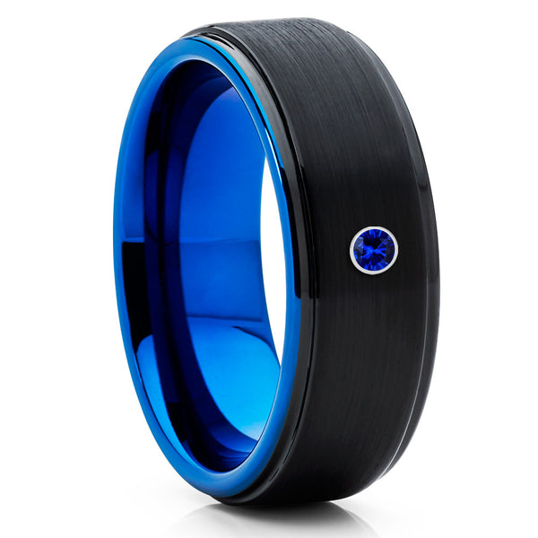 8mm - Blue Tungsten Ring - Black Wedding Band - Blue Sapphire Tungsten - Clean Casting Jewelry