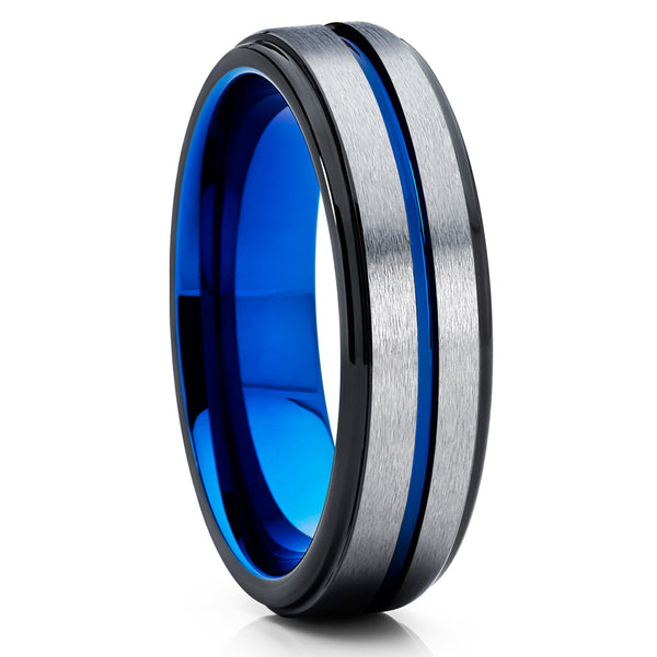 Gray Tungsten Wedding Band - Blue Tungsten Ring - 6mm Black Tungsten - Clean Casting Jewelry