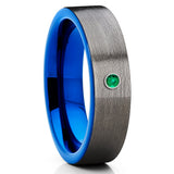 Emerald Tungsten Ring,6mm,Blue Tungsten Ring,Unisex Wedding Band,Gunmetal