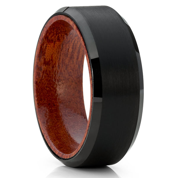 Koa Wood Tungsten Ring - Black Tungsten Ring - Wood Wedding Band - 8mm - Clean Casting Jewelry