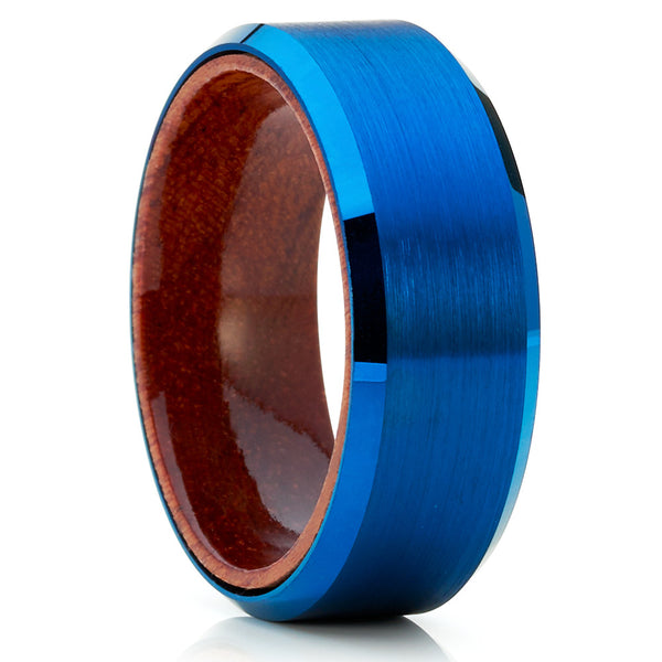 Koa Wood Tungsten Ring - Blue Tungsten Ring - 8mm Blue Tungsten Band - Clean Casting Jewelry
