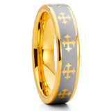 5mm - Yellow Gold Tungsten - Yellow Gold Tungsten Ring - Cross Ring - Clean Casting Jewelry