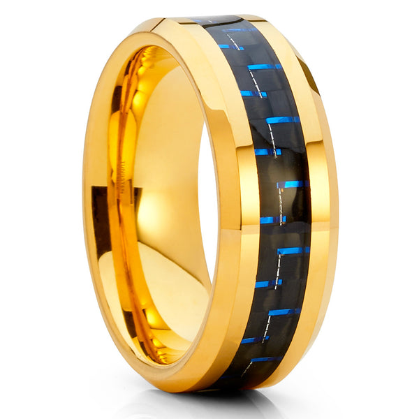 Blue Carbon Fiber Ring,Tungsten Wedding Band,Yellow Gold Tungsten Ring,8mm