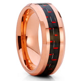 Rose Gold Tungsten,Carbon Fiber Ring,Tungsten Wedding Band,8mm Tungsten