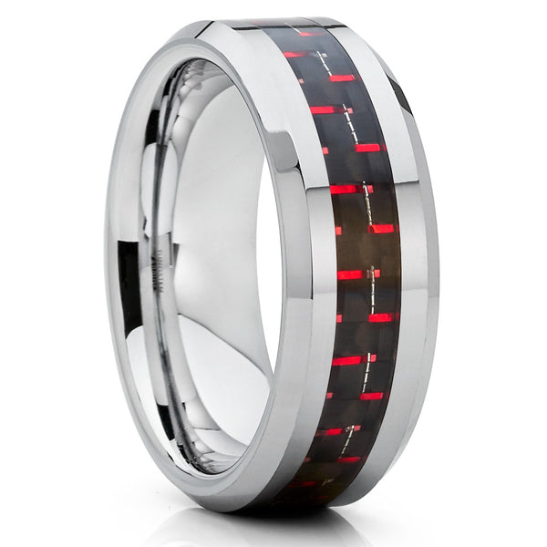 Tungsten Wedding Band - Carbon Fiber Ring - Red Wedding Band - 8mm - Clean Casting Jewelry