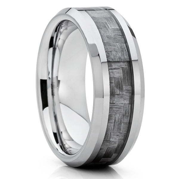 Tungsten Wedding Band - Grey Tungsten - Carbon Fiber Ring - 8mm - Clean Casting Jewelry