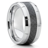 9mm - Tungsten Wedding Band - Carbon Fiber Ring - Men's Wedding Band - Black - Clean Casting Jewelry