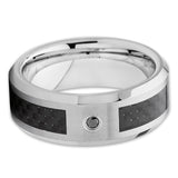 Tungsten Ring - Carbon Fiber - Tungsten Wedding Band - Black Diamond Ring - Clean Casting Jewelry
