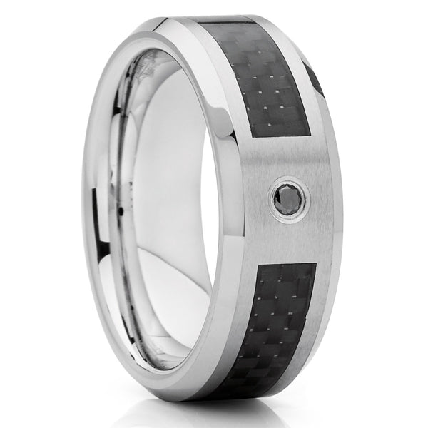 Black Diamond Tungsten,Tungsten Wedding Band,Carbon Fiber Ring,8mm Tungsten