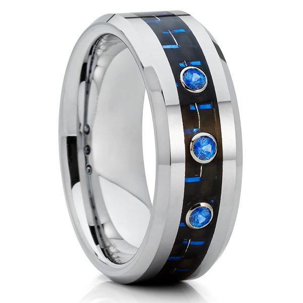 Blue Sapphire Ring - Carbon Fiber Ring - Tungsten Wedding Band - 8mm - Men's - Clean Casting Jewelry