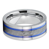 Men's Tungsten Wedding Band - Gray Tungsten Ring - Hammered - 8mm Ring - Clean Casting Jewelry