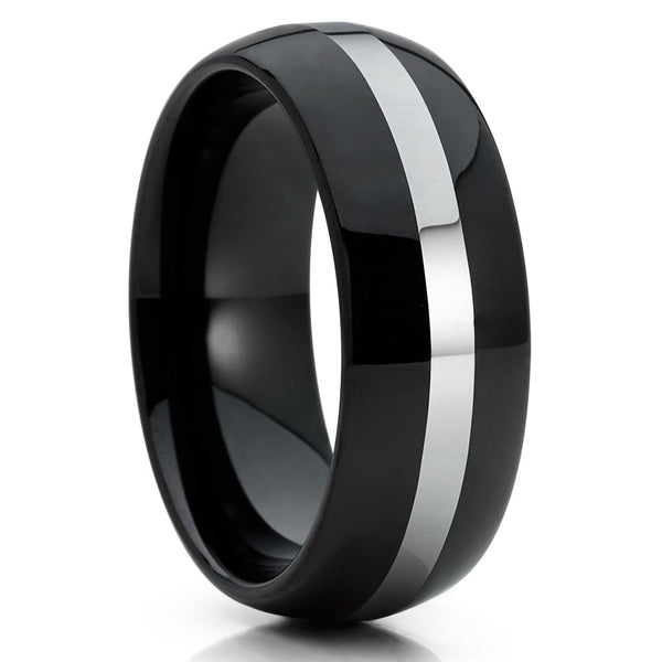 Black Tungsten Wedding Band - Silver - Black Wedding Band - Shiny Polish - Clean Casting Jewelry