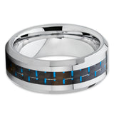 Carbon Fiber Ring - Tungsten Wedding Band - Blue - Tungsten Wedding Ring - Clean Casting Jewelry