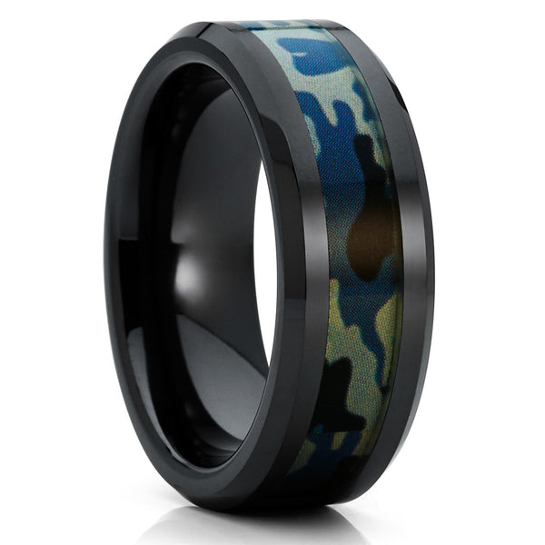 Black Wedding Band - Black Ceramic Ring - Camouflage Wedding Band - 8mm - Clean Casting Jewelry