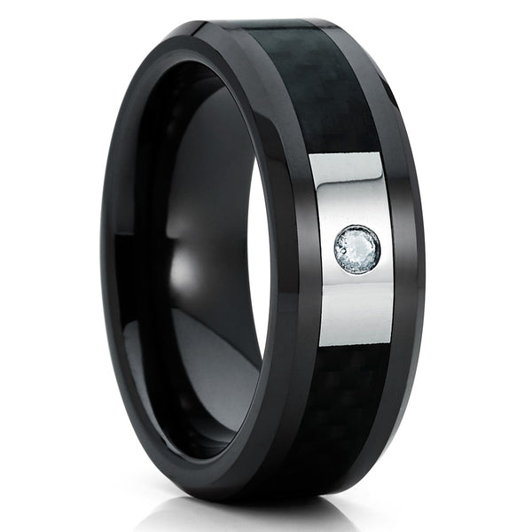 Ceramic Wedding Band - Black Ceramic Ring - Black Diamond - Carbon Fiber - Clean Casting Jewelry