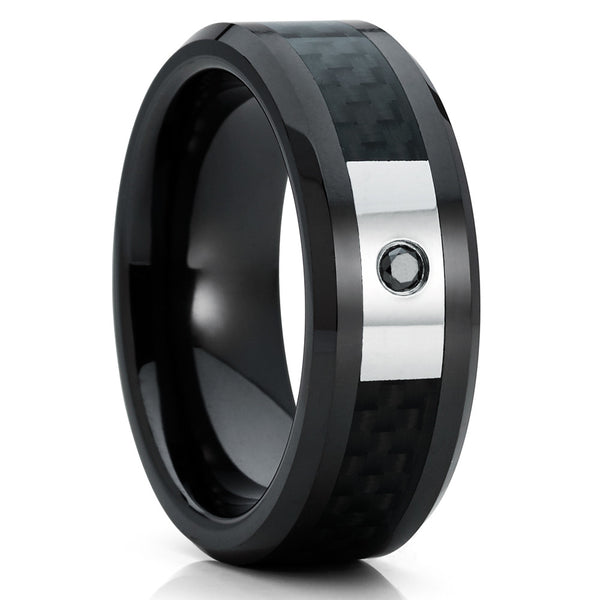 Men's Ceramic Wedding Band - Black Diamond Ring - Black Ceramic Ring - 8mm - Clean Casting Jewelry