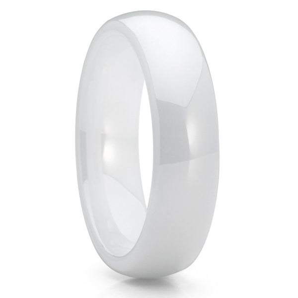 Ceramic Wedding Band - White Ceramic Ring - Ceramic Wedding Ring - 5mm - Clean Casting Jewelry