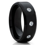 Black Titanium Ring - CZ Titanium Ring - Black Titanium Wedding Band - Clean Casting Jewelry
