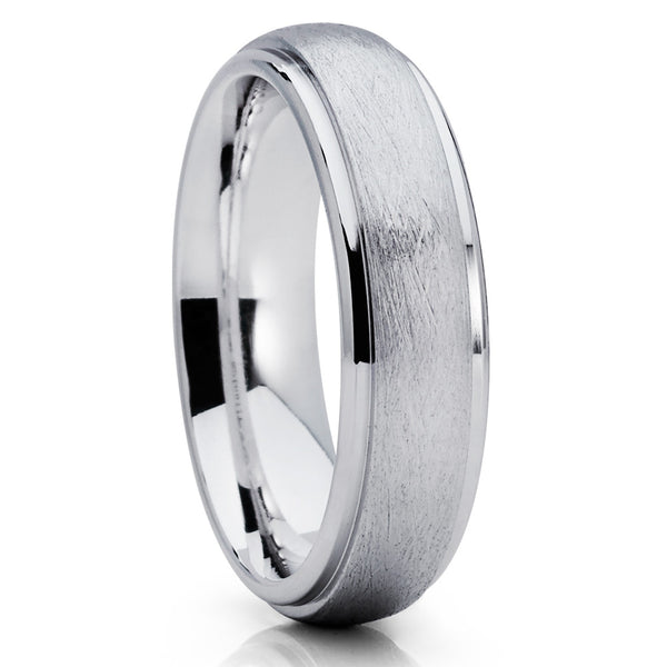 Brushed Titanium Wedding Band,White Titanium Ring,6mm Titanium Band,Dome