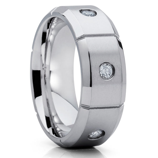 f71ea42bec7179 8mm - Titanium Wedding Band - Men's Ring - Titanium Wedding Ring - CZ -  Clean